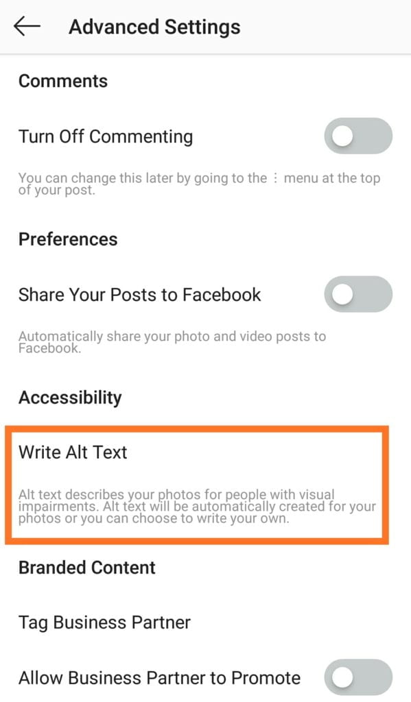 find alt text under accessibility on Instagram