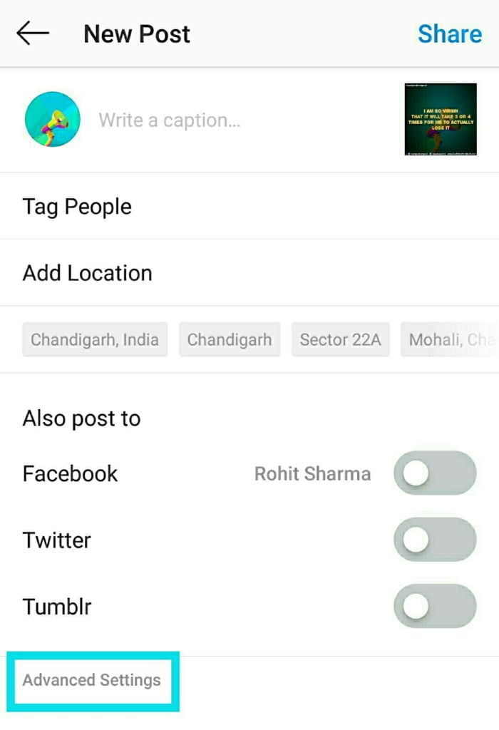 Advanced settings on Instagram share page to find alt text